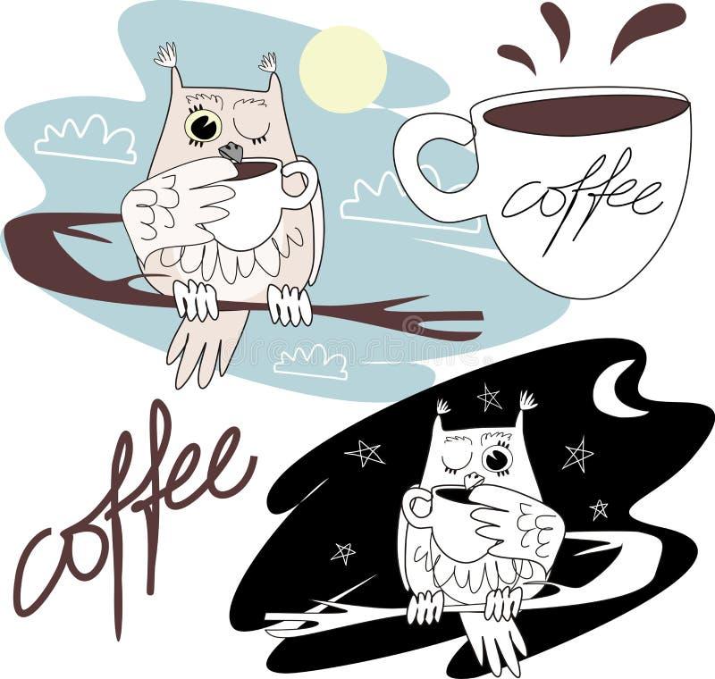Sowa pije kawę obraz royalty free