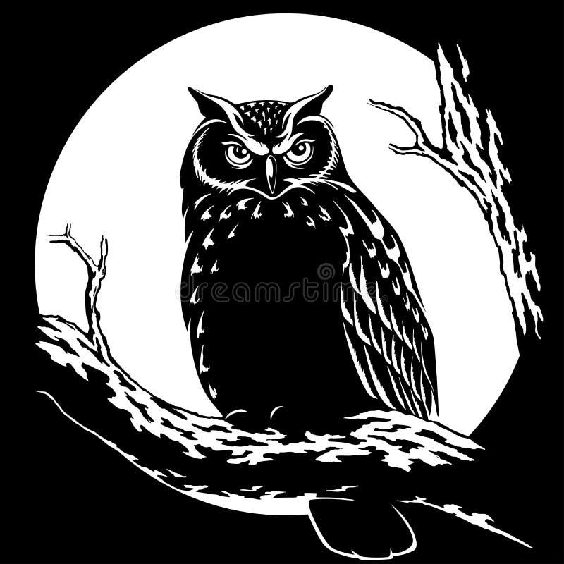 Sowa przy nocą na tle księżyc wektoru ilustracja royalty ilustracja