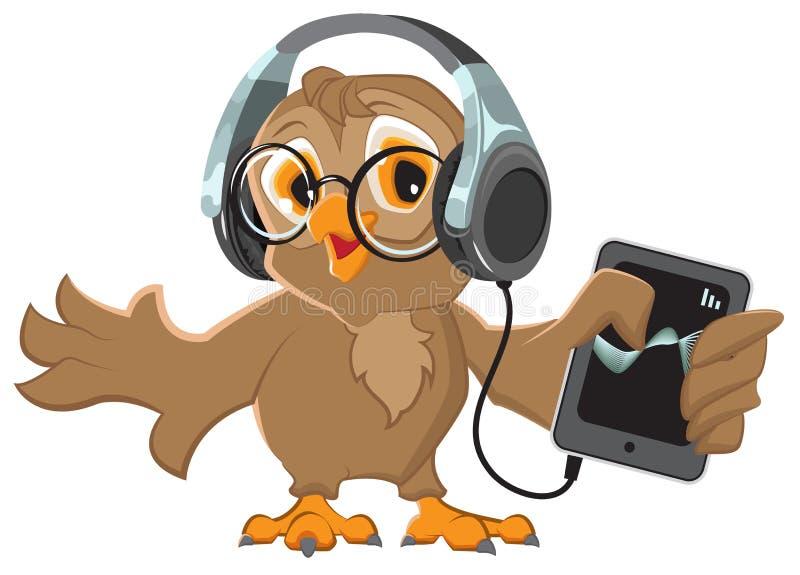 Sowa słucha muzyka z hełmofonami ilustracji