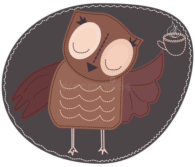 Sowa trzyma filiżankę gorąca kawa Imitacja lampas, appliqué, tkanina i zaszywanie, szew ilustracja wektor