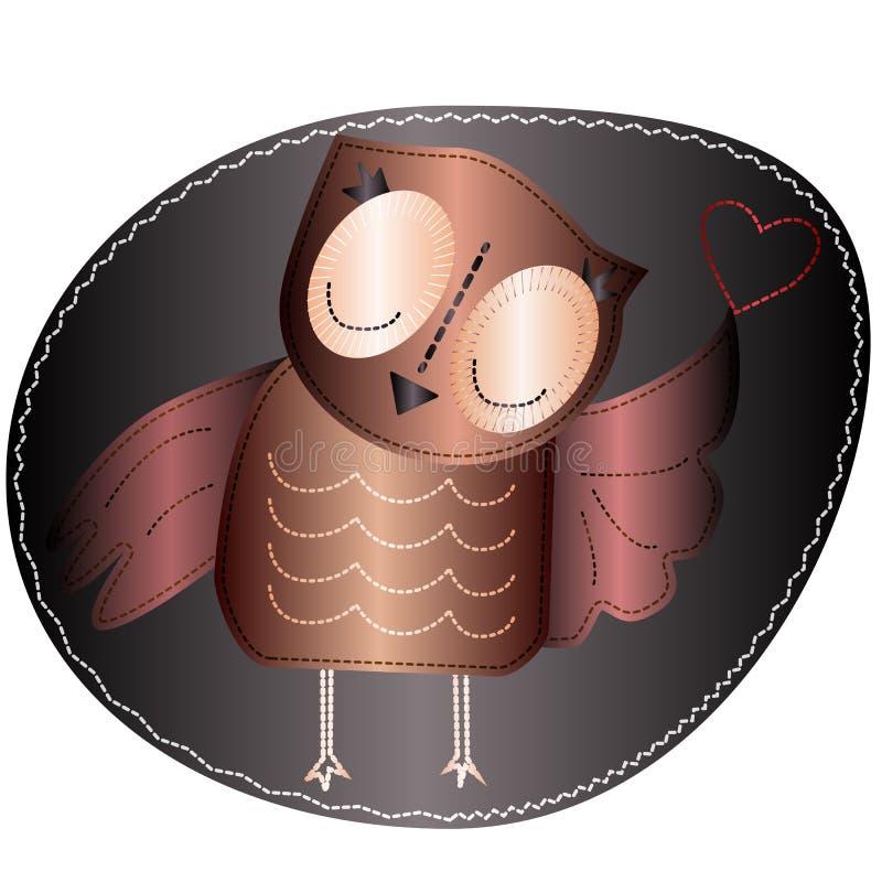 Sowa trzyma serce Imitacja lampas, tkanina i zaszywanie, szew ilustracji