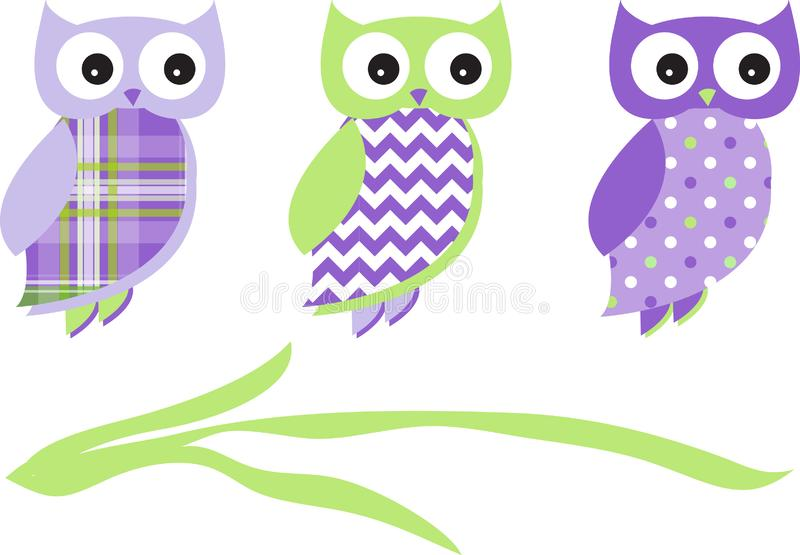 Sowa wzoru paczki wektoru zieleni purpury royalty ilustracja