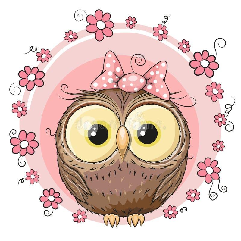 Sowa z kwiatami ilustracji