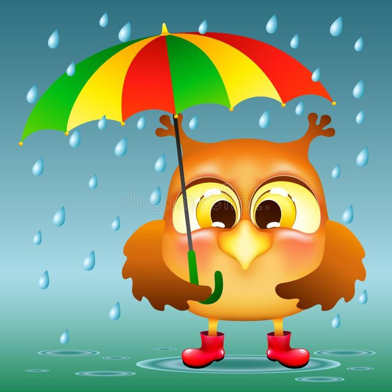 Sowa z parasolem ilustracji