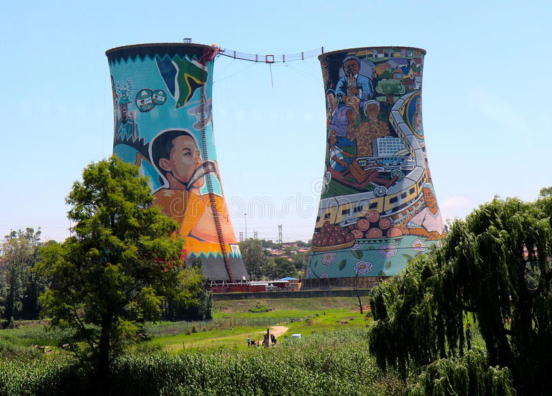 Soweto chimneys. Art on old shop chimneys in Soweto, Johannesburg royalty free stock photography
