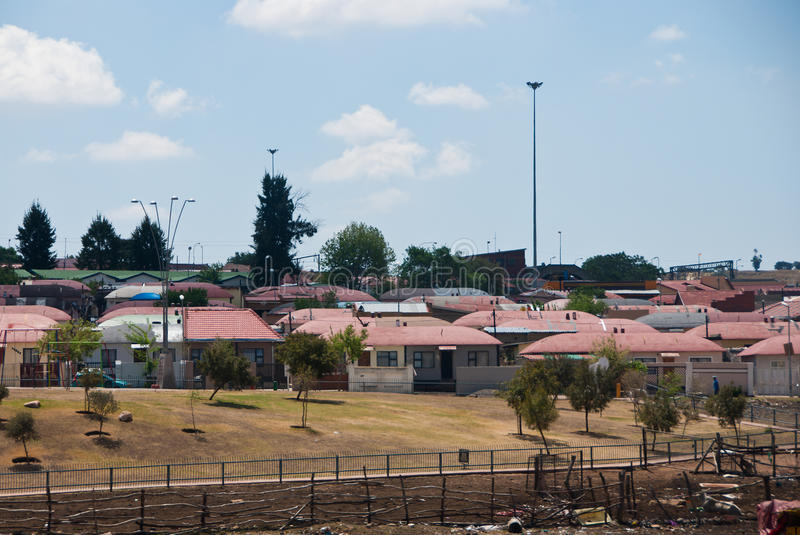 Soweto. District with matchbox houses in Soweto, near Johannesburg, South Africa royalty free stock photo