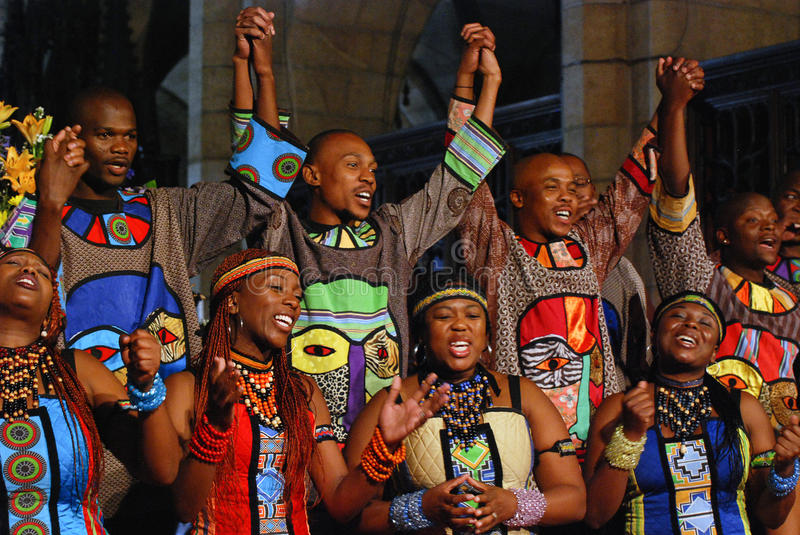 Soweto Gospel Choir. St George's Cathedral Cape Town royalty free stock photography