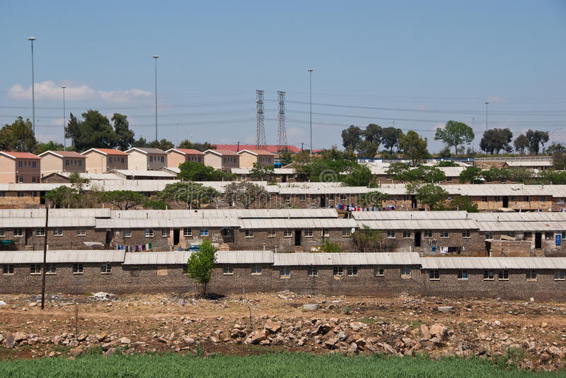 Soweto hostels. Neighbourhood of hostels for male workers in a famous Soweto slum, Johannesburg, South Africa stock photo
