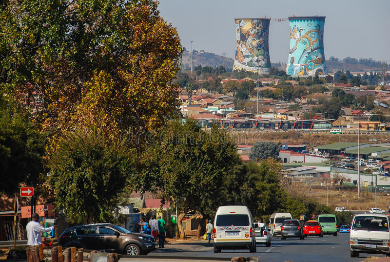 SOWETO, a township of Johannesburg, South Africa. SOWETO, a township of Johannesburg, with the Orlando Towers in background, South Africa royalty free stock photo