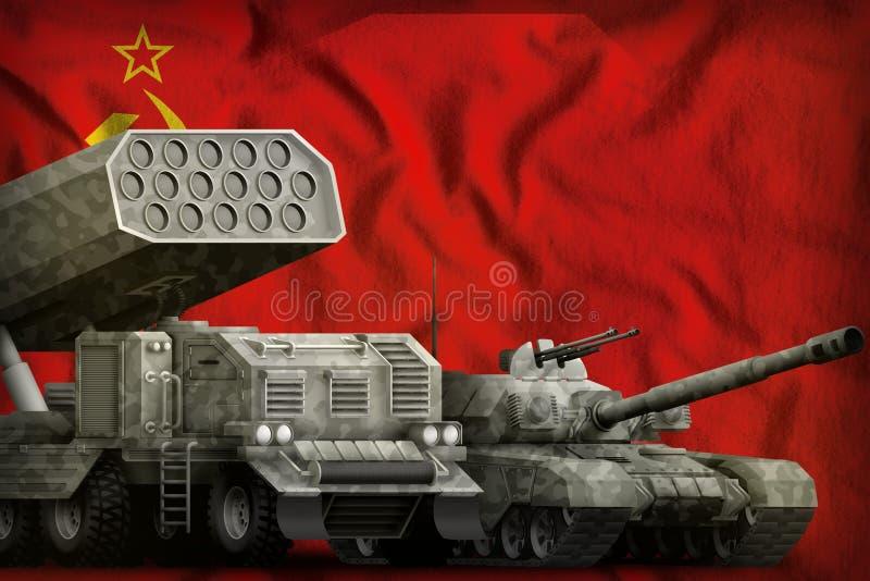 Sowieci - zjednoczenie SSSR, USSR pojazdów pancernych ciężki militarny pojęcie na chorągwianym tle 9 Maj, zwycięstwo dnia pojęcie ilustracji