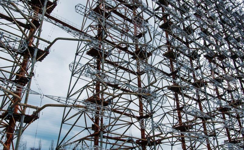 Sowjetisches Radar DUGA 3 nahe Tschornobyl-Geisterstadt bei Ukraine stockfotografie