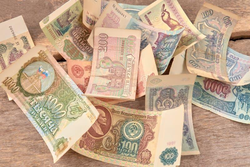 Sowjetisches und russisches Geld stockfoto