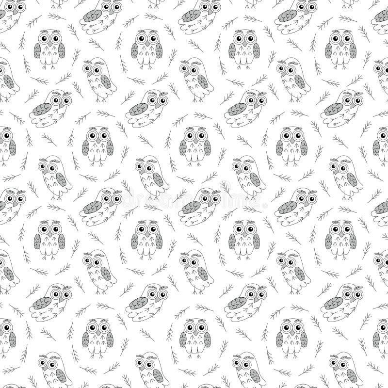 Sowy czerń i wihte wektorowy bezszwowy wzór ilustracja wektor