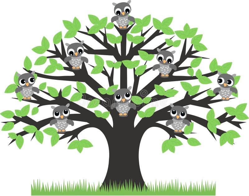 sowy drzewne ilustracja wektor