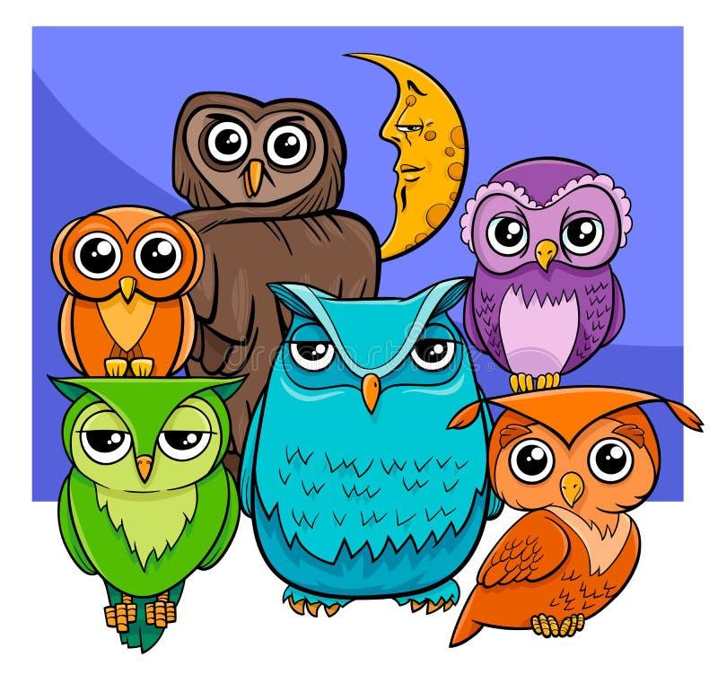 Sowy grupują kreskówki zwierzęcia charaktery ilustracji