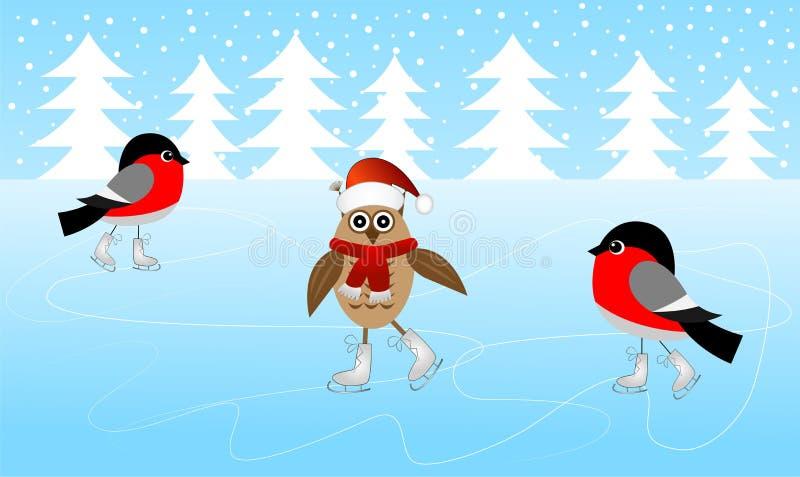 Sowy i dwa gili łyżwa na lodzie ilustracji