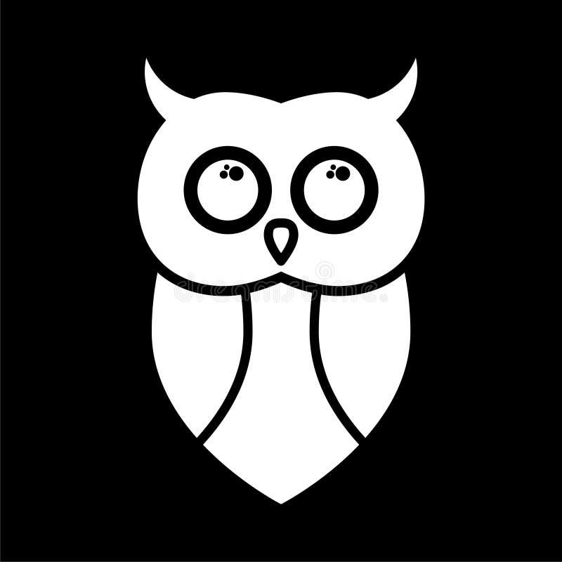 Sowy ikona, sowa logo, sowy ilustracja na ciemnym tle ilustracji
