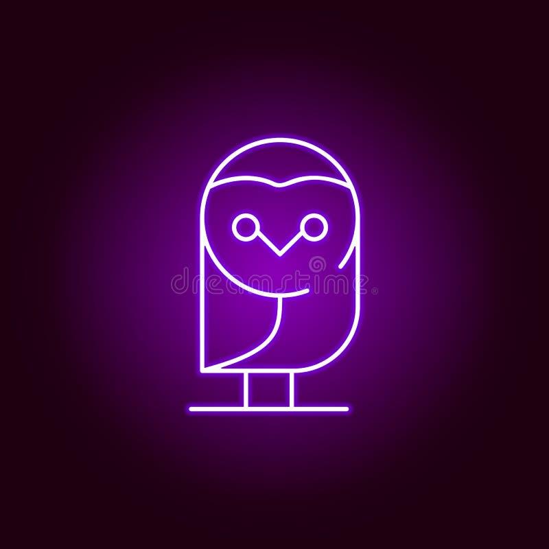 sowy ikona w neonowym stylu Element Halloween ilustracja Znaki i symbol inkasowa ikona dla stron internetowych, sie? projekt, wis royalty ilustracja