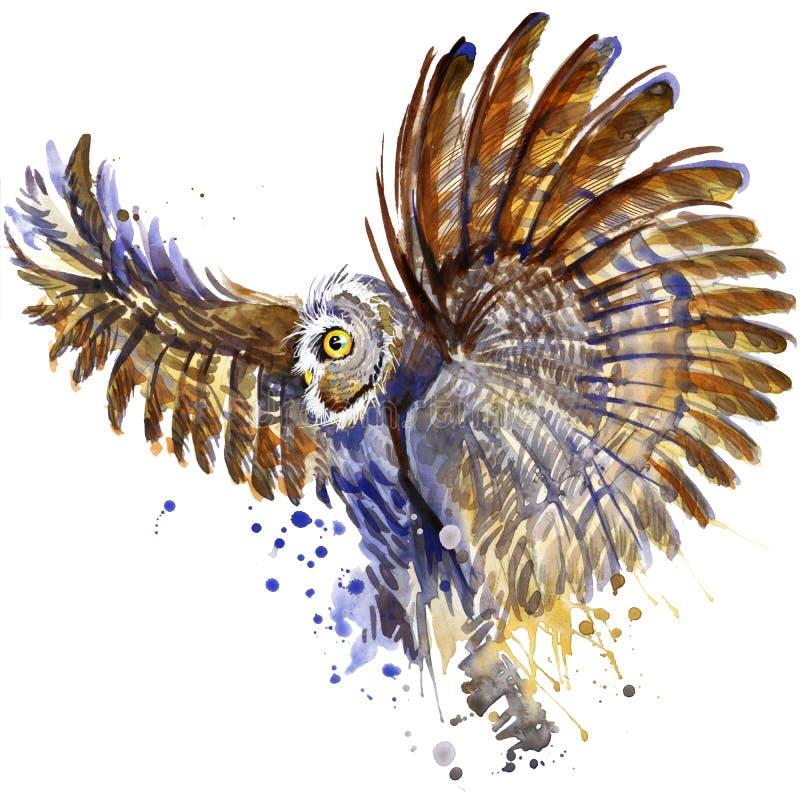 Sowy koszulki grafika, śnieżna sowy ilustracja z pluśnięcie akwarelą textured tło ilustracyjnej akwareli śnieżna sowa dla fa royalty ilustracja