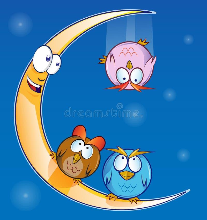 Sowy kreskówka na księżyc ilustracji
