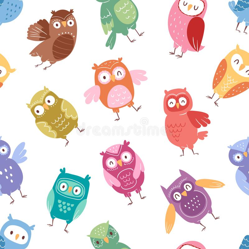 Sowy kreskówki wektorowego ślicznego ptaka kreskówki owlet ustalony charakter żartuje zwierzęcą dziecko sztukę dla dziecka owlish royalty ilustracja