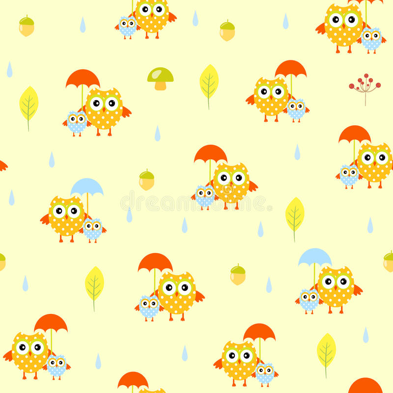 Sowy parasolowej jesieni bezszwowy wzór ilustracja wektor