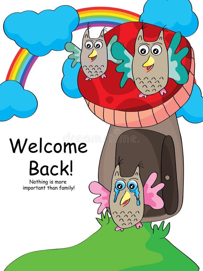 Sowy powitania Z powrotem spotkanie royalty ilustracja