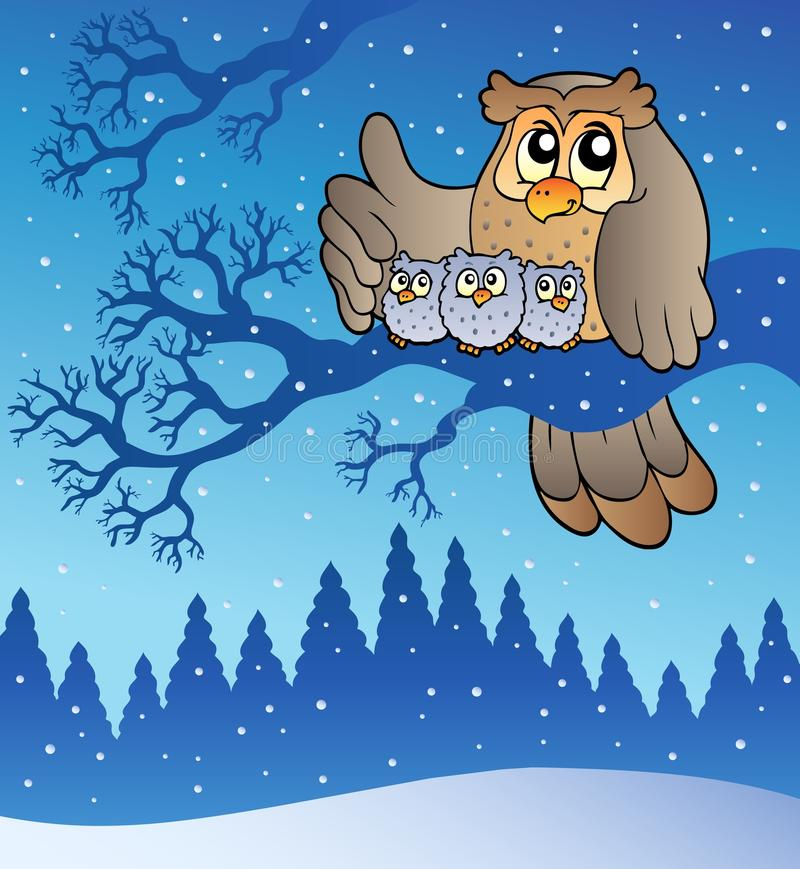 sowy rodzinna zima ilustracja wektor