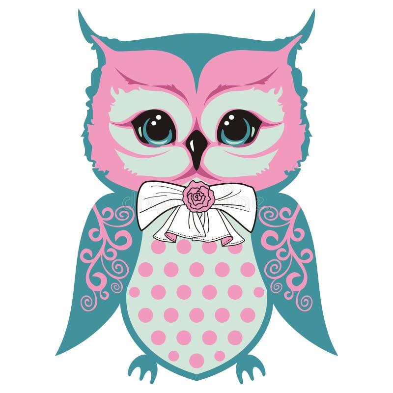Sowy ` s lisiątko jest małym pięknym ptakiem z łękiem i róża, uskrzydla z koronkowymi wzorami ilustracja wektor