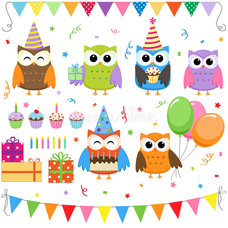 sowy urodzinowy przyjęcie ilustracji