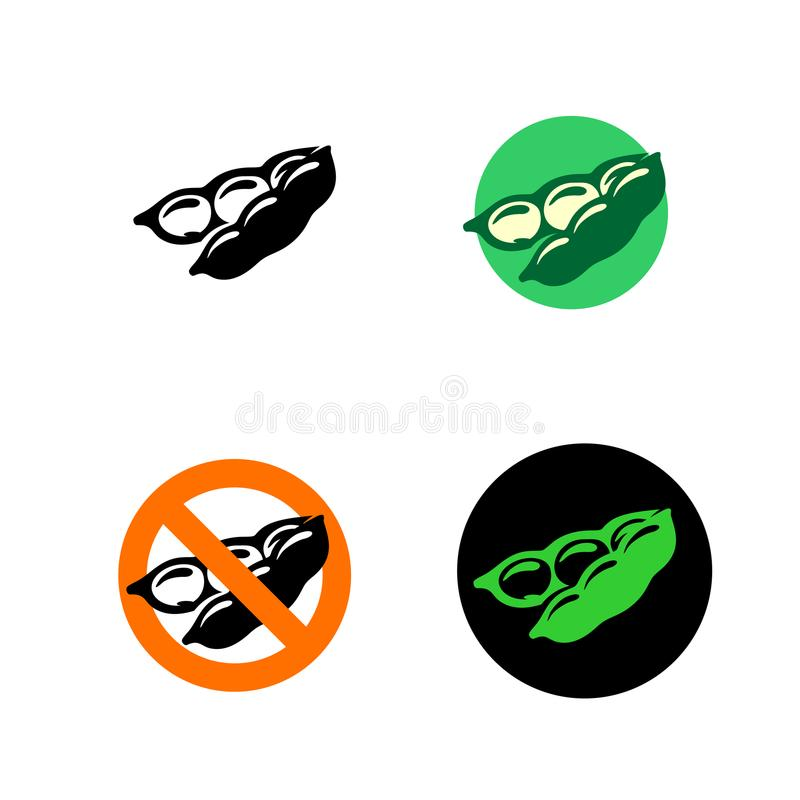 Soy bean icon with variations. Black, green and red colors stock illustration