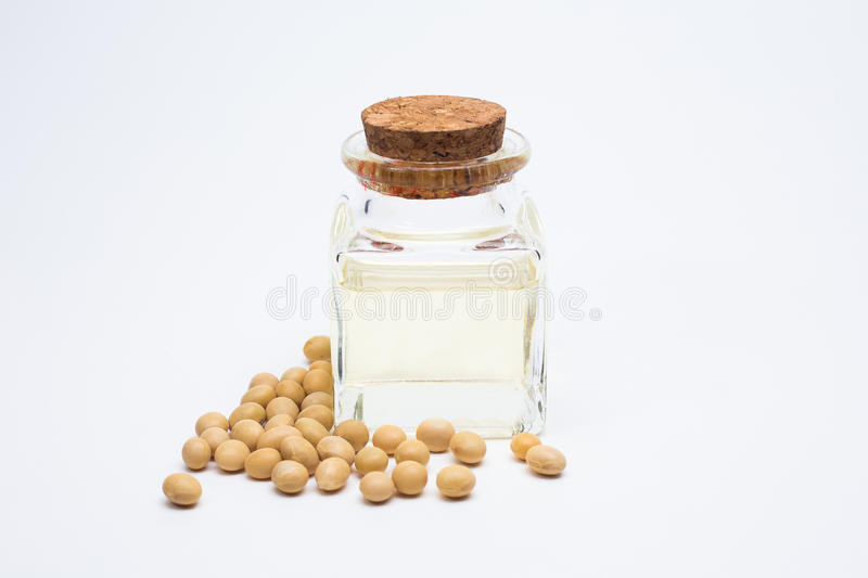 Soy beans close up image on white background royalty free stock photos