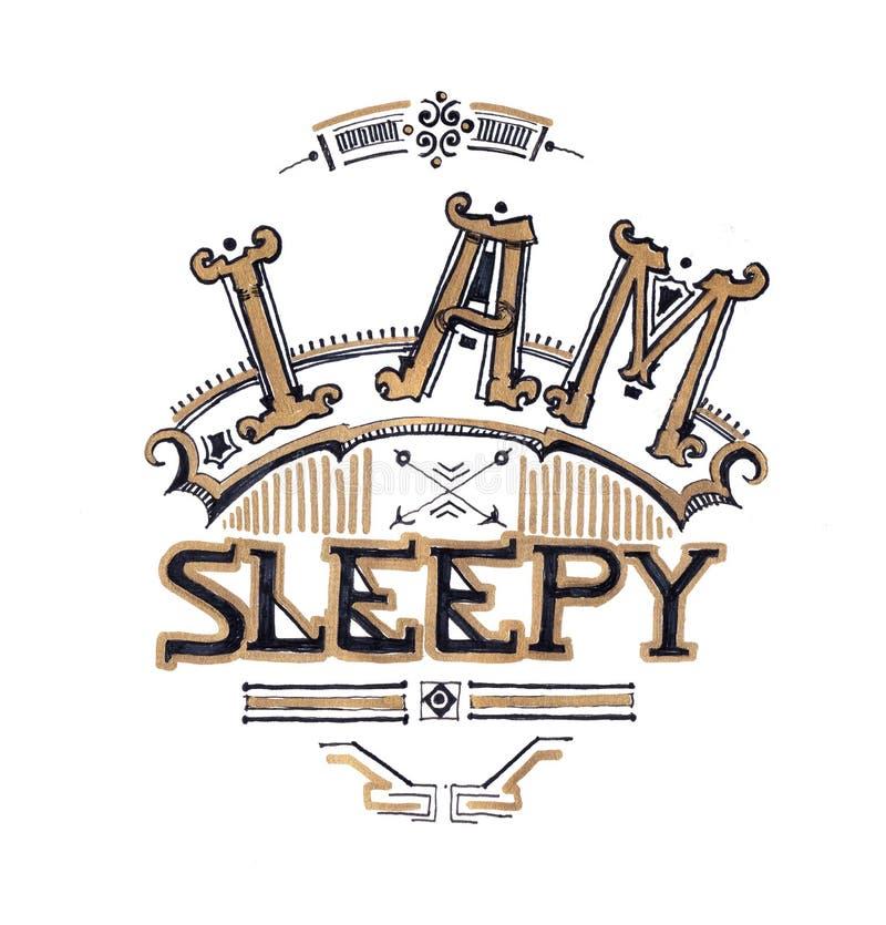 Soy el dibujo typograhy soñoliento de la mano del diseño, el cansar y el insomnio c stock de ilustración
