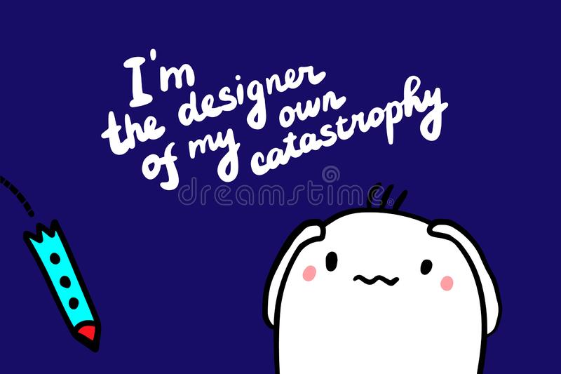 Soy el diseñador de mi propio ejemplo exhausto del vector de la mano de la catástrofe en estilo de la historieta con el cohete qu ilustración del vector