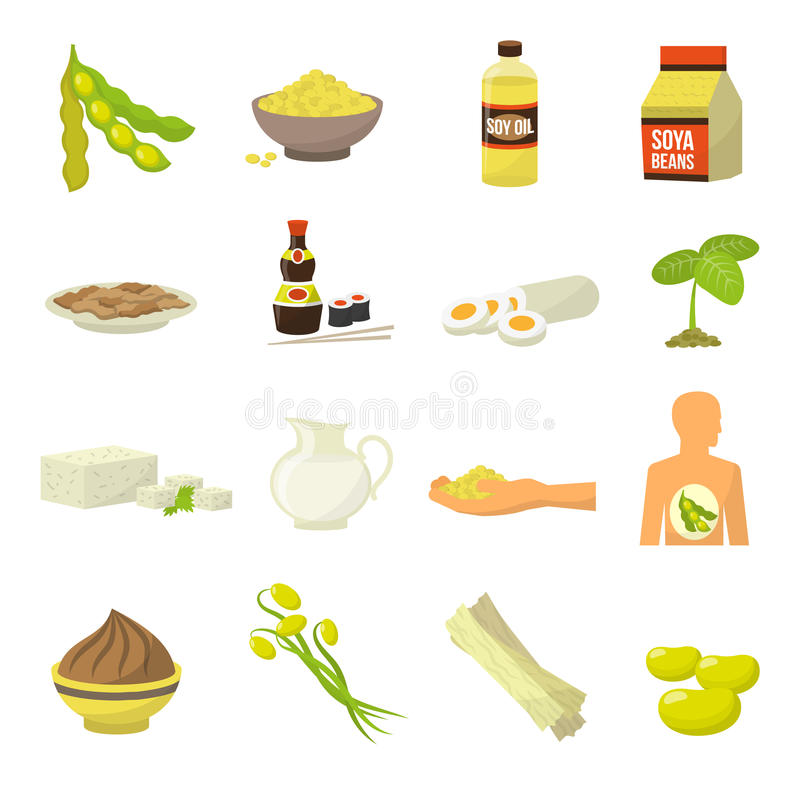 Soy Food Icons. Soy milk soy beans soy sauce soy meat tofu soy oil vector illustration stock illustration