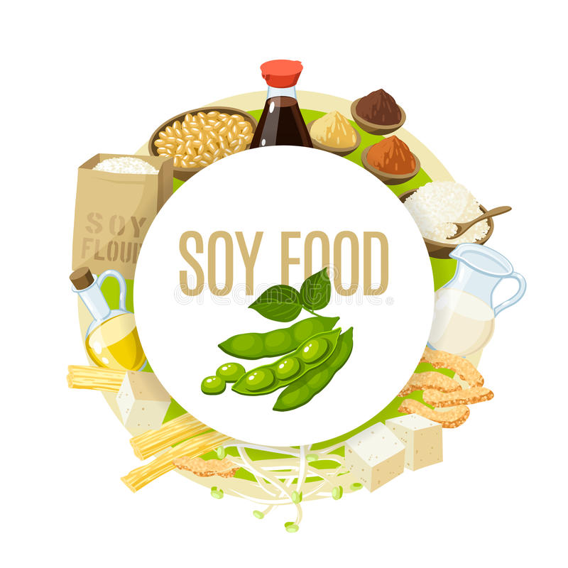 Soy food label. Soy food label with soy milk, soy sauce, soy meat, tofu, miso and so. Vector illustration, isolated on white, eps 10 vector illustration