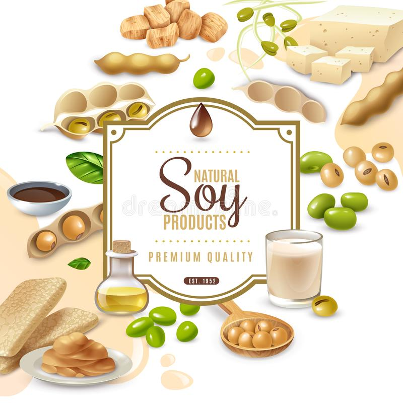 Soy Food Products Frame Background. Decorative frame with soy food products on white beige background vector illustration vector illustration