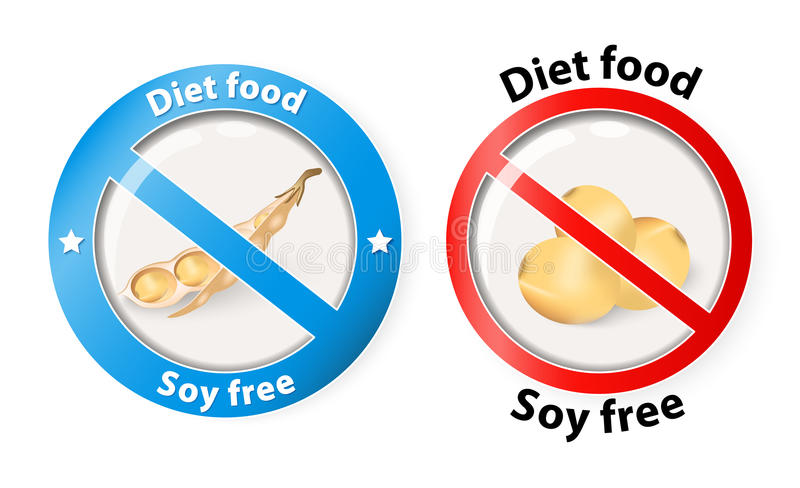Soy free. Symbol. soybean or soya bean. Two icons for design vector illustration