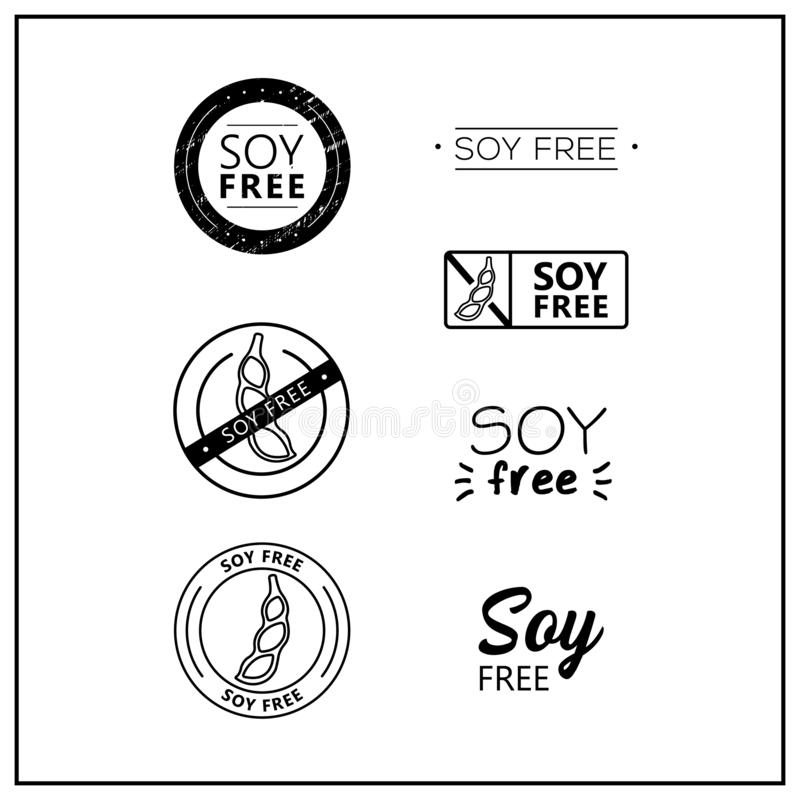 Soy-free vector logos. Soy free icons on white background. Soy-free drawn isolated sign icon set. Healthy lettering symbol of soy free. Black and white soy-free royalty free illustration