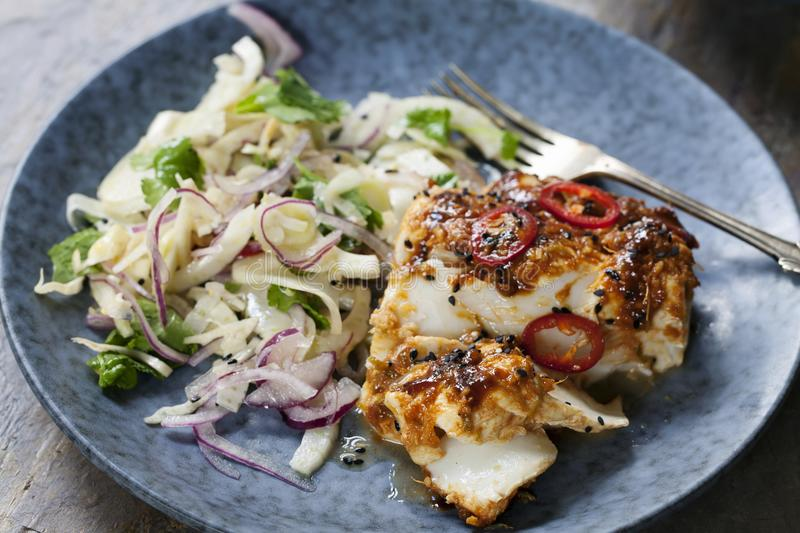 Soy and ginger glazed cod with fennel and onion salad royalty free stock photography