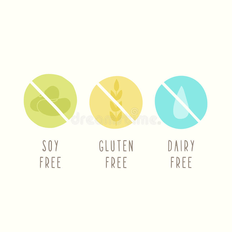 Soy, gluten, dairy free. Set of signs. Can be used for packaging design. Vector illustration stock illustration