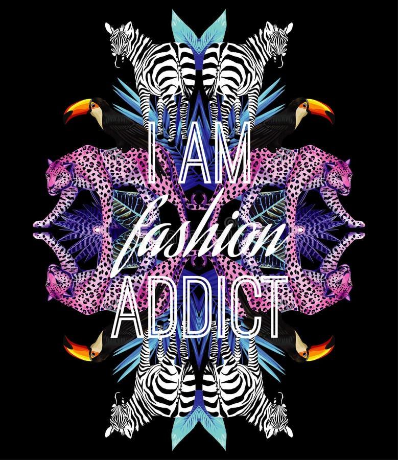 Soy lema del adicto a la moda Animales e impresión de moda del espejo de las plantas tropicales ilustración del vector