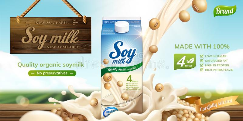 Soy milk ads. With splashing liquid and wooden sign hanging in the air on bokeh green field background in 3d illustration stock illustration