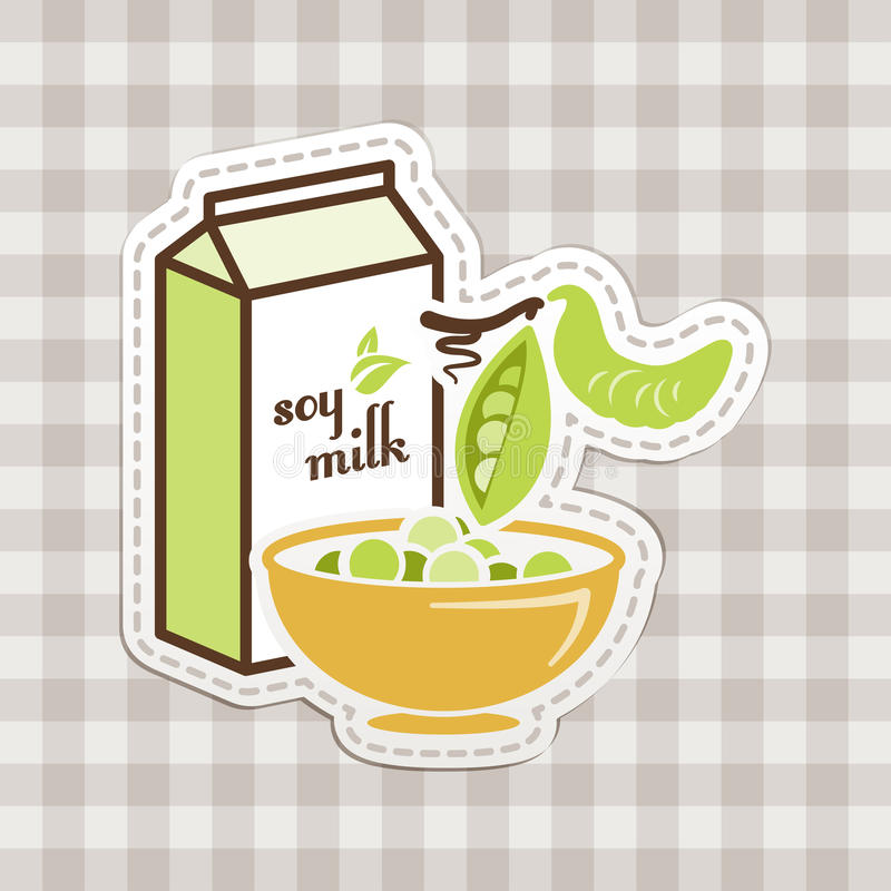 Soy milk. With checkered tablecloth stock illustration