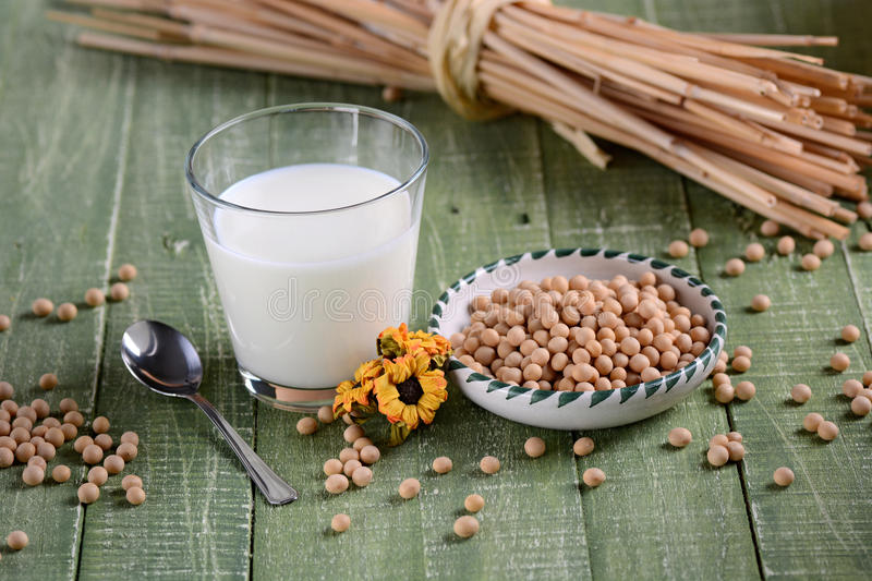 Soy milk in the glass royalty free stock photos