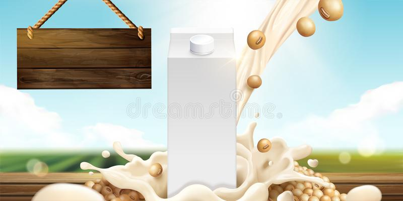 Soy milk template. With blank carton box and ingredients on bokeh nature background in 3d illustration royalty free illustration