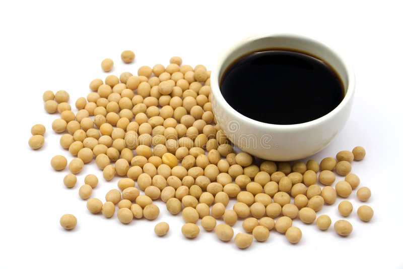 Soy sauce and beans stock image