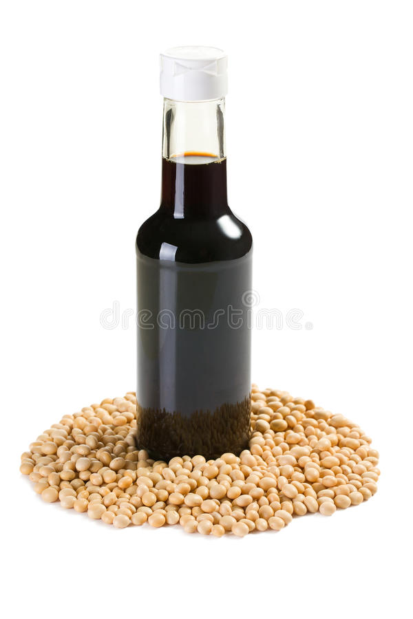 Soy sauce in bottle royalty free stock images