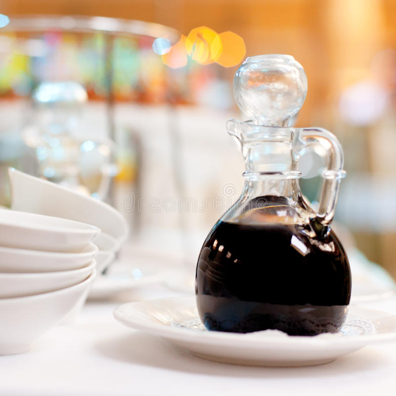 Soy sauce in a bottle stock photo