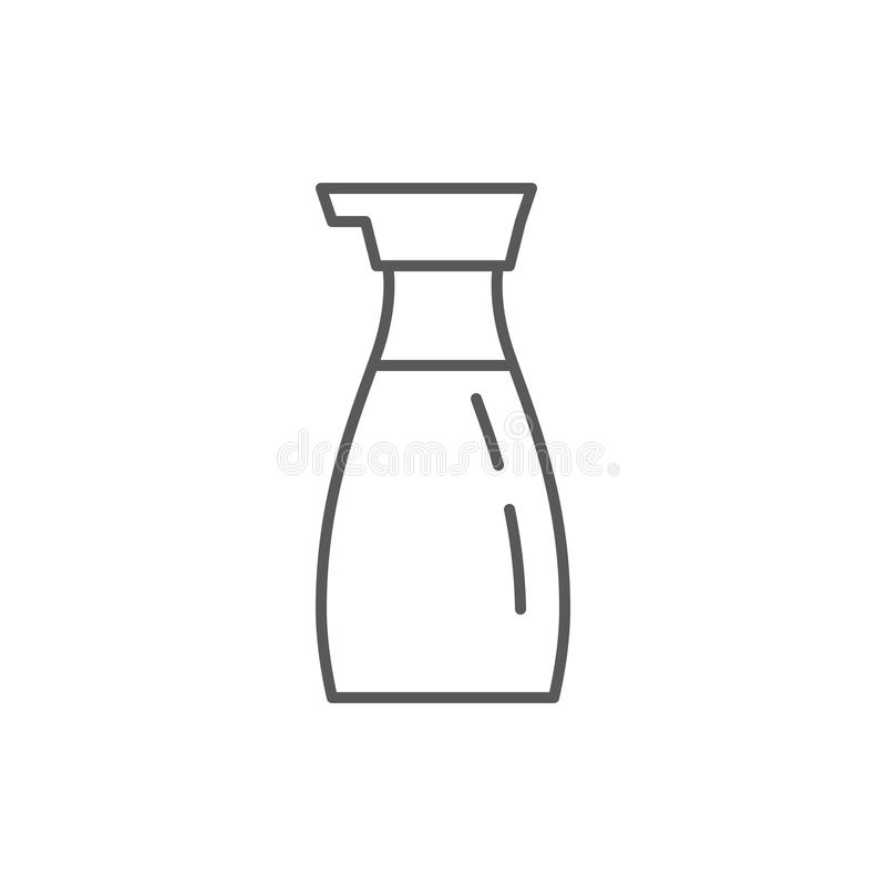 Soy sauce in bottle editable outline icon - pixel perfect symbol of liquid condiment for Chinese or Japanese cuisine. Soy sauce in bottle editable outline icon stock illustration